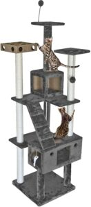 Furhaven Pet - Tiger Tough Tall Cat Tree is very suitable for multiple cats householders!